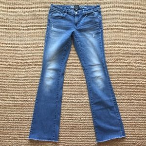 Mossimo Mid-Rise Skinny Boot Cut Distressed Jeans